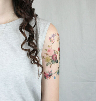 make-up fake tattoos flowers tattoo colorful hippie