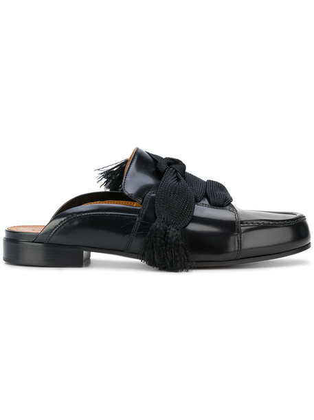 Chloe women mules lace leather black shoes