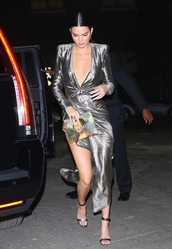 dress,gown,prom dress,silver,silver dress,kendall jenner,kardashians,wrap dress,metallic,shoes,bag