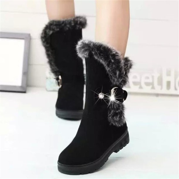 shoes shoes woman women boots women winter shoes ankle boots snow boots fur  warm boots black 86b55e4043