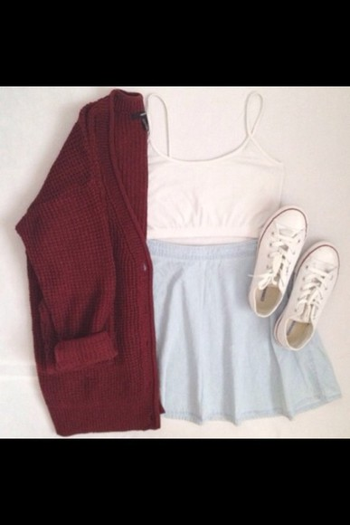 shirt amazing cute prefect skirt cardigan converse hot lov