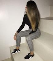 pants,grid,grey,black,leggings,tight trousers,cute,stylish