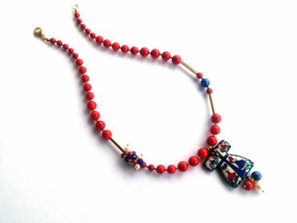 jewels necklace jewelry coral caftan tile women red lapis lazuli gemstone natural stone