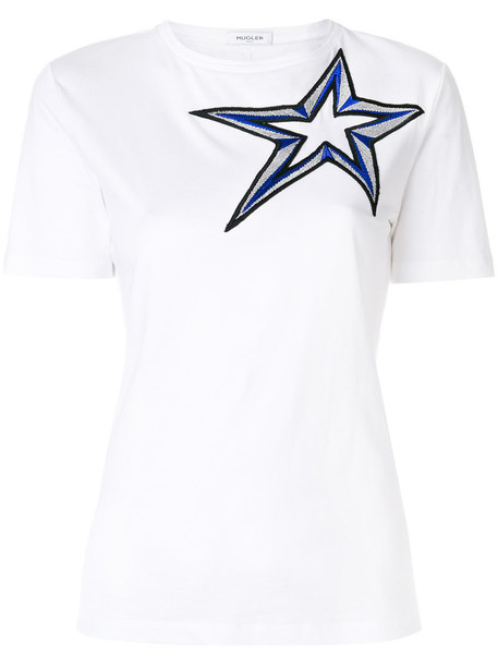 MUGLER t-shirt shirt t-shirt embroidered women white cotton top