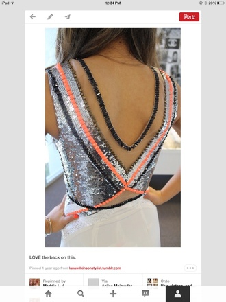 dress sequin dress geometric v back coral black silver goldish