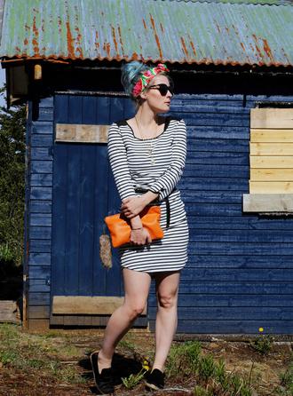 like a riot blogger sunglasses dress jewels bag shoes striped dress headband pouch