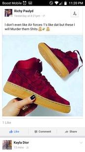 shoes,nike,nike air,nike shoes,nike air force 1 high top,nike air force 1,velvet,cute