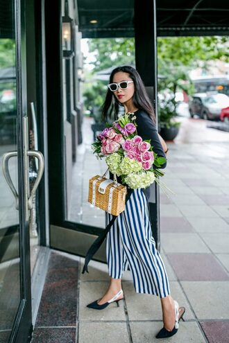 bag tumblr basket bag boxed bag shoes slingbacks pants stripes striped pants culottes white sunglasses sunglasses