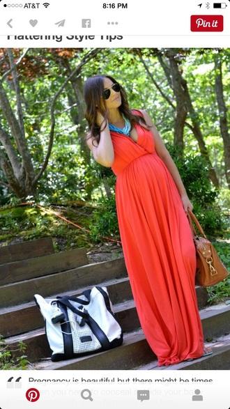 dress coral maternity v neck maxi dress
