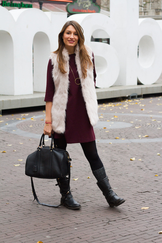 style and trouble blogger sweater dress fluffy leather bag necklace winter outfits