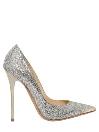 glitter net pumps lace light gold shoes