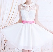 dress,floral,little white dress,dainty,pink bow,pink bow dress cute little flowy rosy,girly,white collar