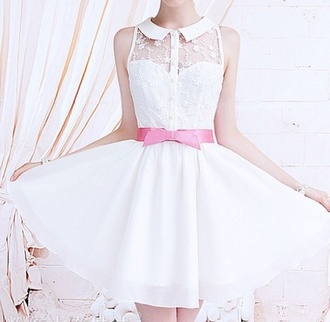 dress floral little white dress dainty pink bows pink bow dress cute little flowy rosy girly white collar