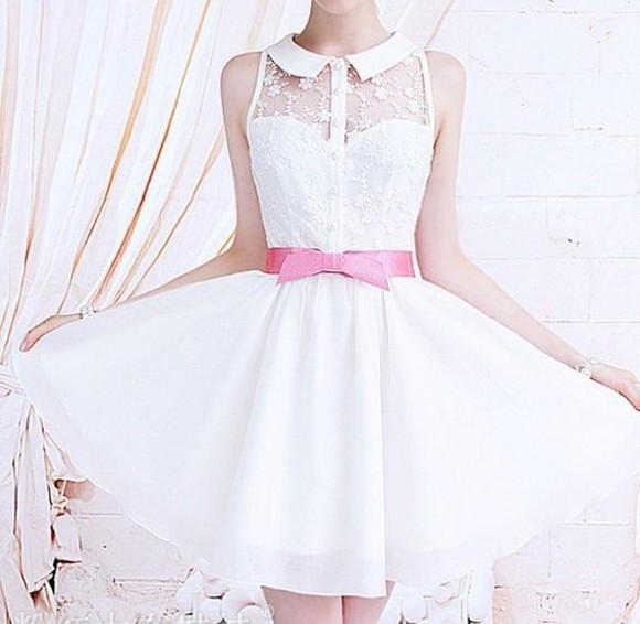 dress white collar floral girly little white dress dainty pink bows pink bow dress cute little flowy rosy