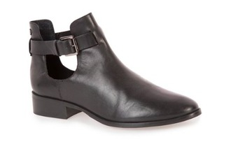 shoes boots black open shoes leather cut out ankle boots