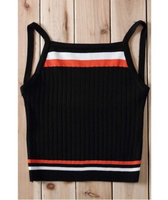 top black fashion crop tops style trendy stripes knitwear summer trendsgal.com