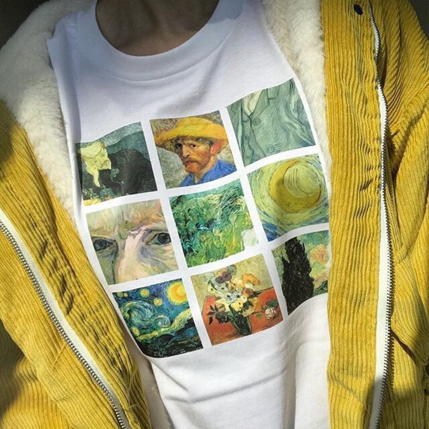 shirt van gogh art white colorful painting t-shirt