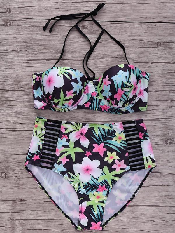 swimwear zaful push up swimwear push up bikini black bikini vintage strappy beach high waisted bikini floral boho summer fashion
