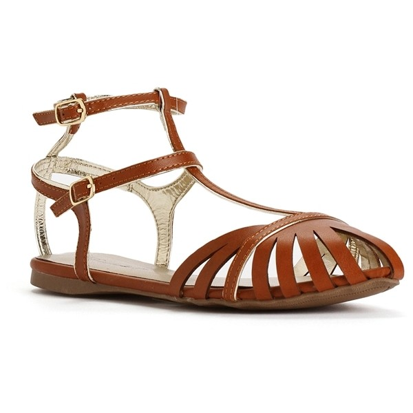 Tan T-Strap Front Cut-Out Sandals - Polyvore