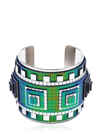 cuff cuff bracelet silver blue jewels