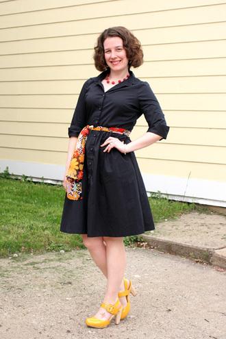 dress black shirt dress floral print scarf yellow heels blogger