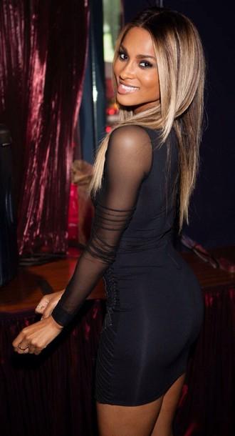 dress black dress mesh dress bodycon dress long sleeve dress