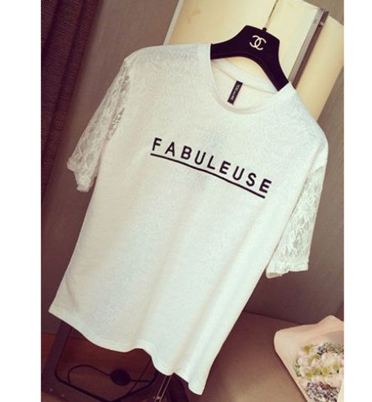 top chic style t-shirt fabuleuse french casual lace shirt white tee blogger vogue lace top