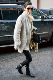 coat,kendall jenner,leggings,boots,socks,turtleneck,fuzzy coat,sweater,beige fluffy coat
