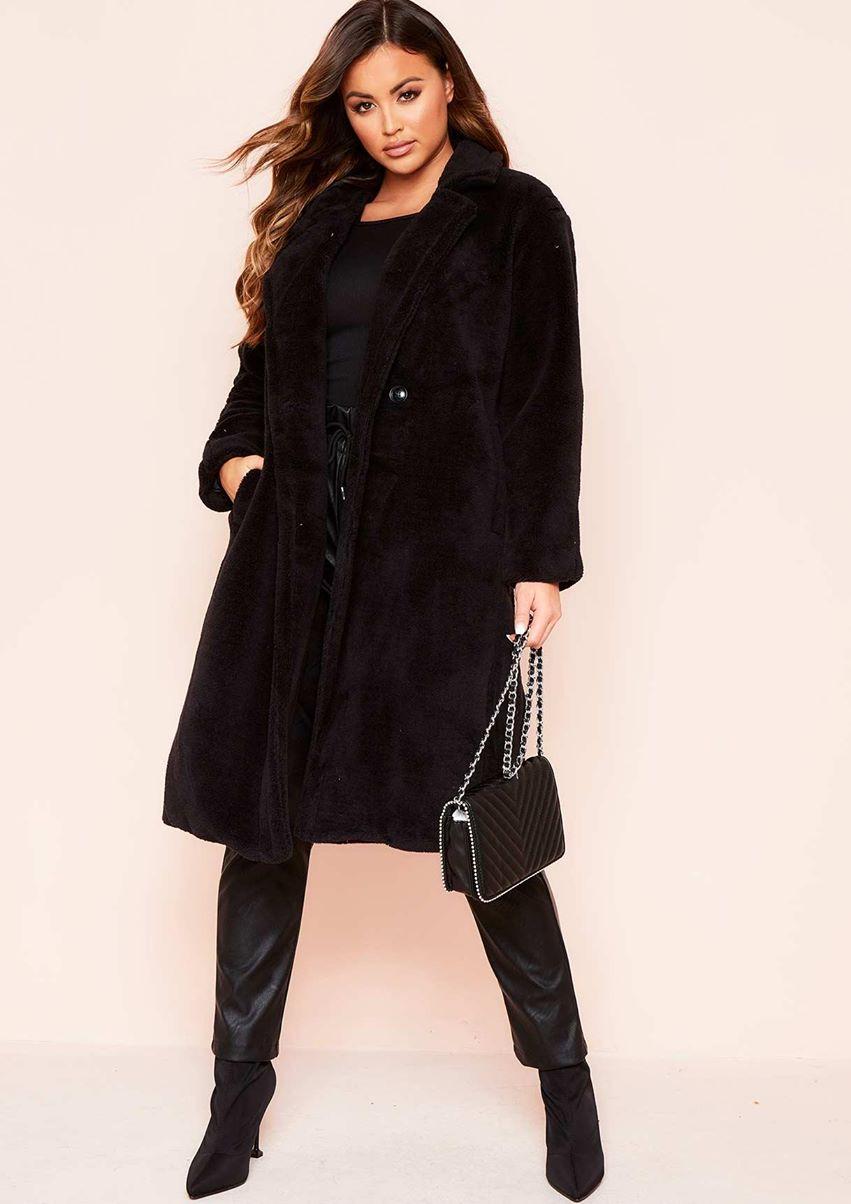 Remy Black Faux Fur Midi Oversized Coat