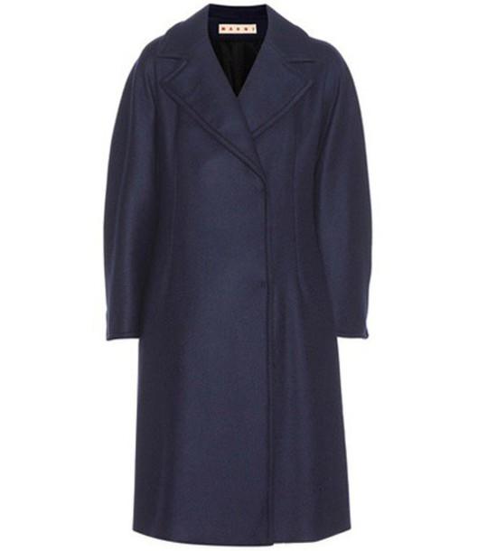 Marni Virgin Wool-blend Coat in blue