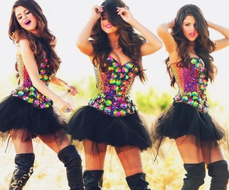 dress selena gomez rhinestones rainbow