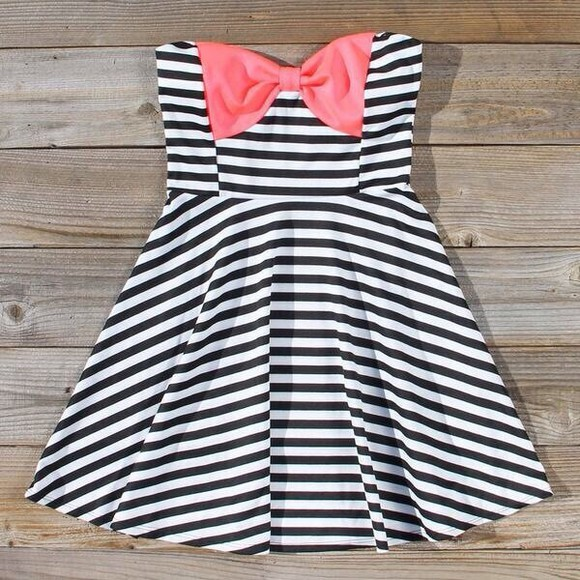 dress striped dress b&w, pink bow black white stripes dress now pink summer cute black white coral bow