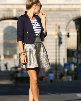 skirt sparkle blazer women striped shirt