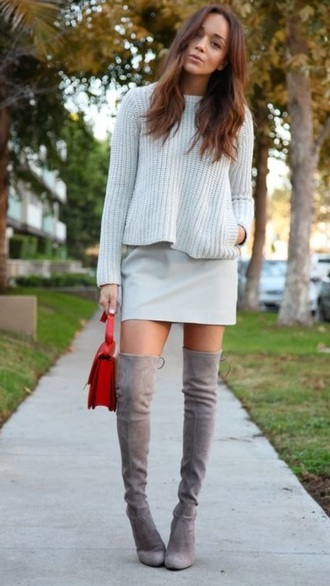 boots ashley madekwe daim grey suede over the knee boots