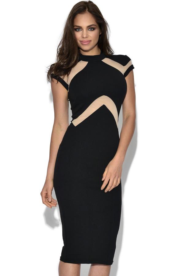 Nude Illusion Insert High Neck Midi Dress 026046