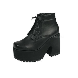 Women's Chunky Thick Sole Platform Heels Lace Up Punk Ankle Short Boots Shoes | eBay