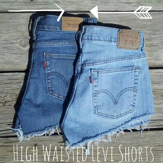 Levi's High Waisted Light/Dark Denim Frayed by TheLotusPetals