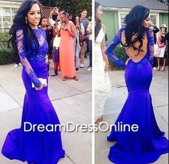 dress lace dress royal blue long sleeves