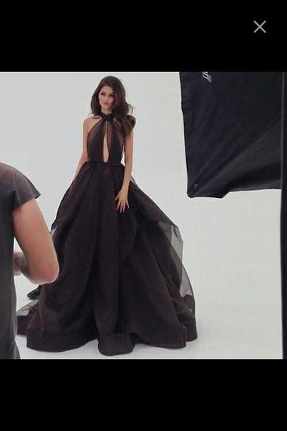 dress black dress long black chiffon ball gown