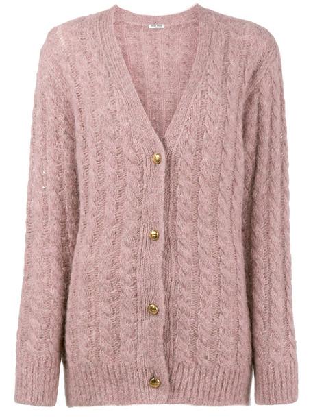 Miu Miu cardigan cable knit cardigan cardigan women wool purple knit pink sweater