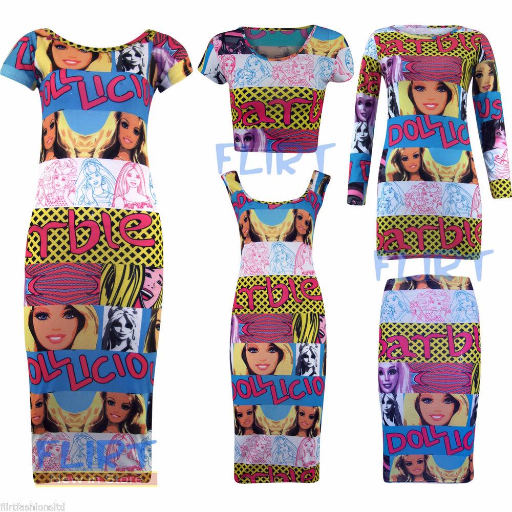 Tunic MIDI Dress Barbie Crop Top Ladies Bodycon Pencil Skirt 3/4 ...