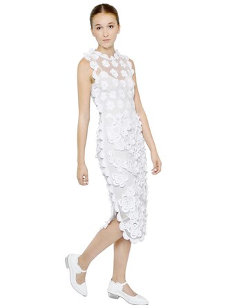 dress tulle dress embroidered floral white