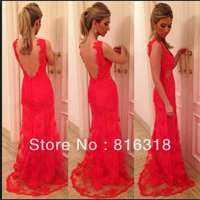 Vestidos formales open back lace evening dress plus size red evening gown 2014 evening dress long vestidos de fiesta sexy