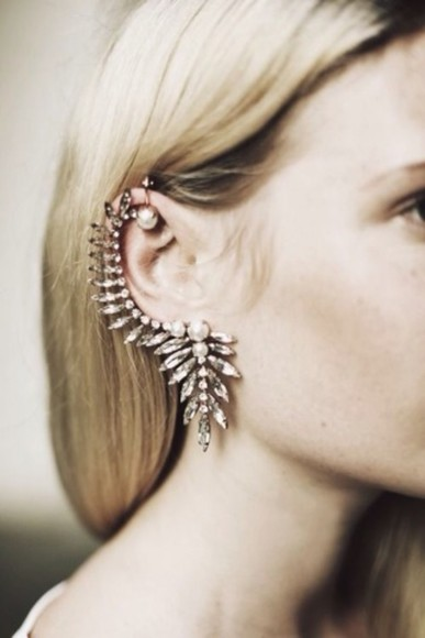 jewels earrings ear cuff diamonds