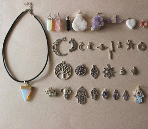 jewels necklace diamonds jewelry sun mon science tree bolt grunge indie hipster alien hippie style