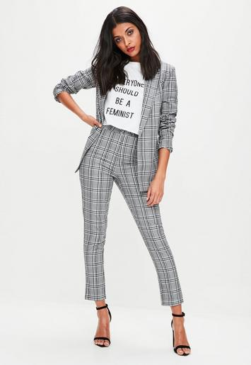 Missguided - Gray Plaid Tailored Cigarette Pants