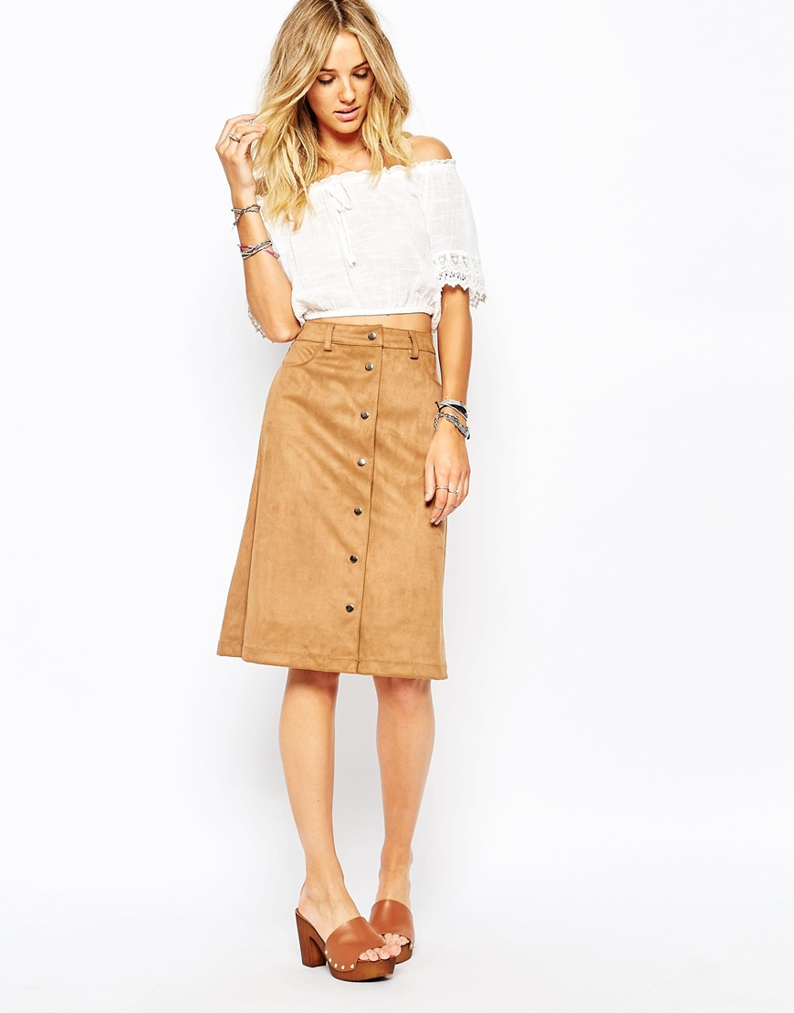 Faux Suede A-line Midi Skirt with Pockets at asos.com