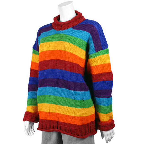 sweater rainbow wool pullover winter outfits stripes top sweatshirt