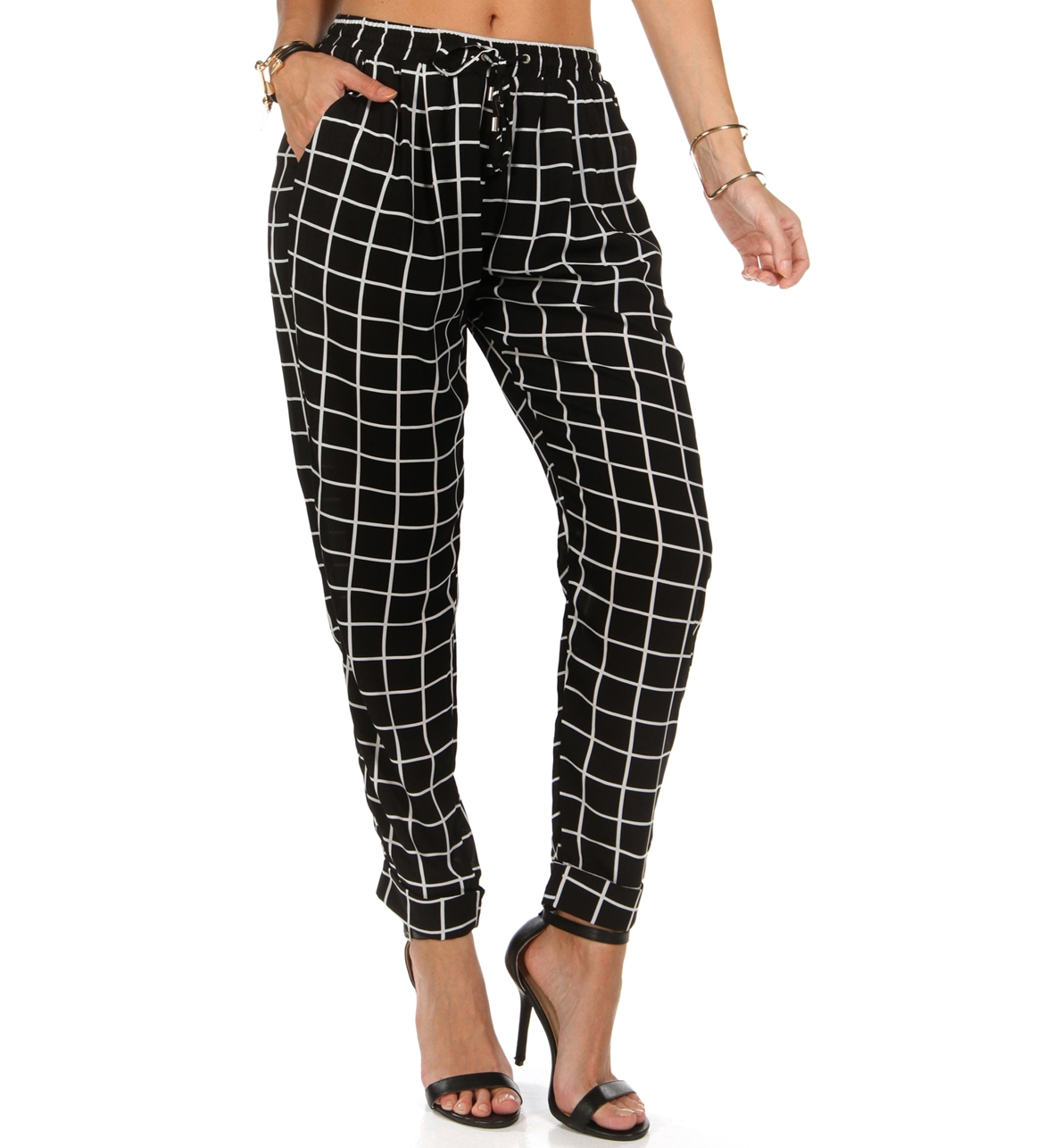Black Checker Trouser Pants