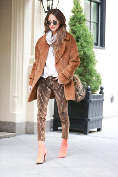 something navy blogger sunglasses bag fuzzy coat winter coat polka dots skinny pants turtleneck winter outfits boots jeans sweater coat shoes make-up polka dots capri pants camel fluffy coat pointed toe boots cold weather outfit teddy bear coat